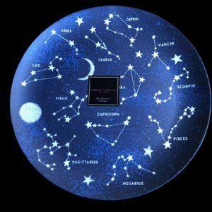 "Large 15"" Round Astrological Star Map Platter"